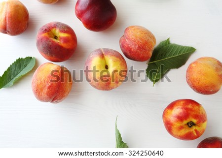 sweet fresh organic peaches, above - stock photo