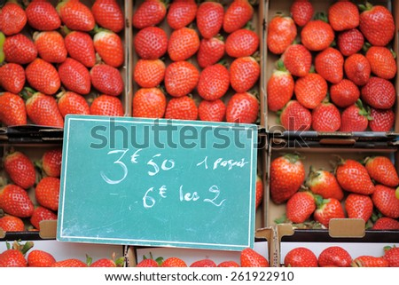 Sweet fresh strawberry on farmer agricultural market - stock photo