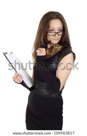 Sweet girl in glasses on a white background