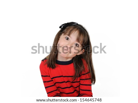 sweet girl with cute grin. Isolated on white  - stock photo