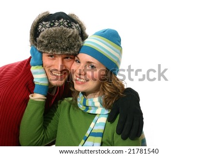 Sweet Happy Couple in Winter Clothing - stock photo