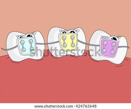 Sweet healthy teeth. Dentist illustration. Characters with eyes teeth for dental website. Happy teeth family.  - stock photo