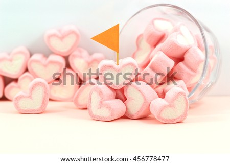 sweet heart marshmallow on pink background
