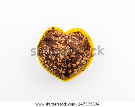Sweet heart shape muffin in silicone mold  - stock photo
