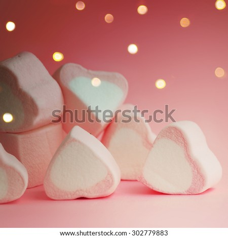 sweet heart shape of marshmallows