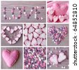 Sweet hearts collage on wooden background - stock photo