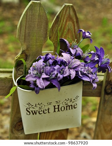 Sweet Home Purple Flower Basket - stock photo