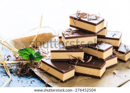 Sweet homemade Belgium pralines with nougat cream,selective focus - stock photo