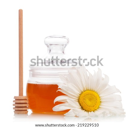 Sweet honey with honey dipper isolated on white - stock photo