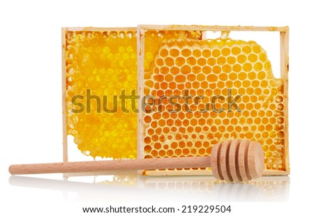 Sweet honey with honey dipper isolated on white background - stock photo