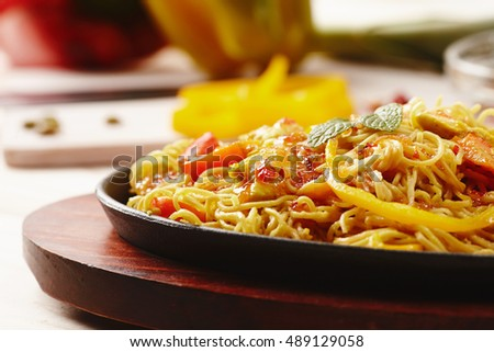 Sweet hot chicken noodles