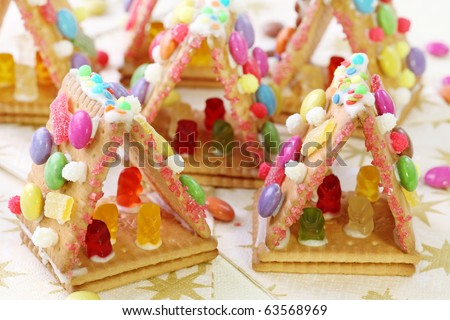 Sweet houses for kids party - stock photo