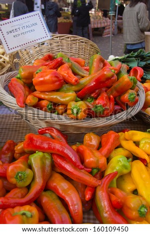 Sweet Italian Peppers at the Farmer's Market - stock photo