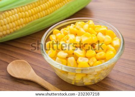 Sweet kernel corn in glass bowl  - stock photo