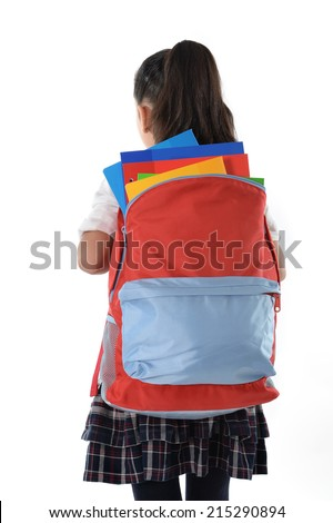 sweet little girl asking for help carrying very heavy backpack or school bag full of notepads and textbooks causing her stress and pain on her back due to overweight isolated on white background - stock photo