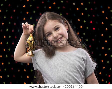 Sweet Little Girl Celebrating with Ramadan Lantern - stock photo
