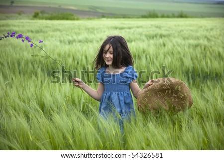 Sweet little girl on the field - stock photo