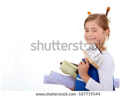 Sweet little  girl ready for DIY - stock photo
