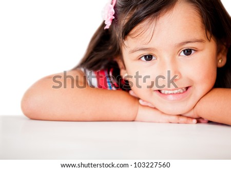 Sweet little girl smiling - isolated over a white background - stock photo