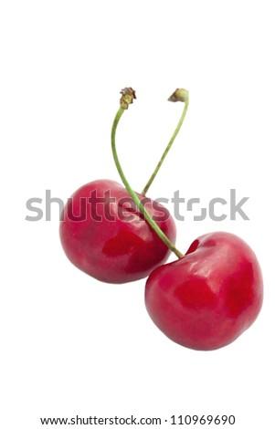 Sweet lovely cherry on white background - stock photo
