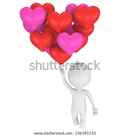 Sweet man in love flying by big heart composed of small hearts. Health, relationship and Valentine's Day concept - stock photo