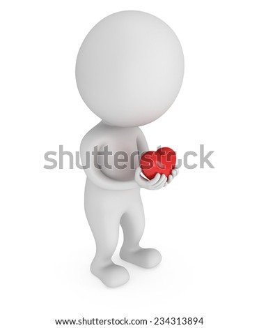Sweet man in love with 3d red heart in hands. Health, relationship and Valentine's Day concept
