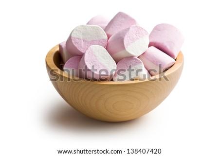 sweet marshmallows on white background - stock photo