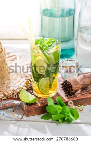 Sweet mojito in glass