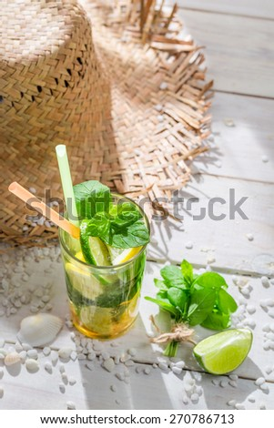 Sweet mojito with lemon and lime