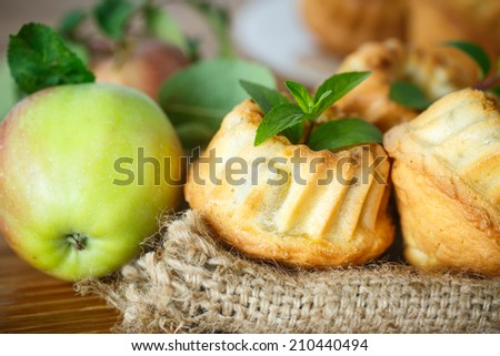 sweet muffins stuffed with apple and mint