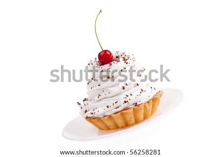 sweet, nourishing cake on white background - stock photo