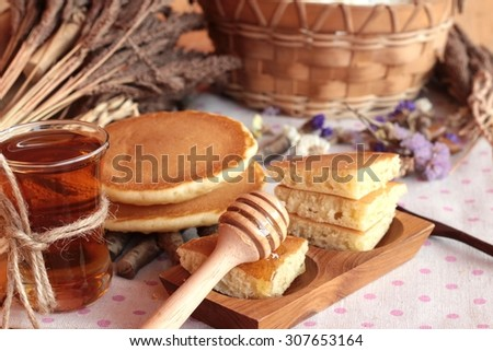 sweet pancake with honey of delicious