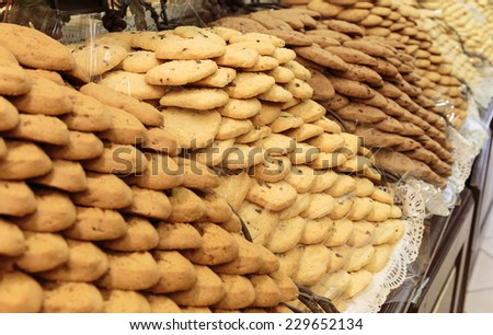 Sweet pastries on display in the grocery store - stock photo