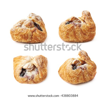 Sweet pastry pocket, sugar coated and filled with the jam, isolated over the white background, set of four different foreshortenings