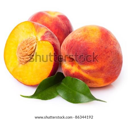 sweet peaches on white background - stock photo