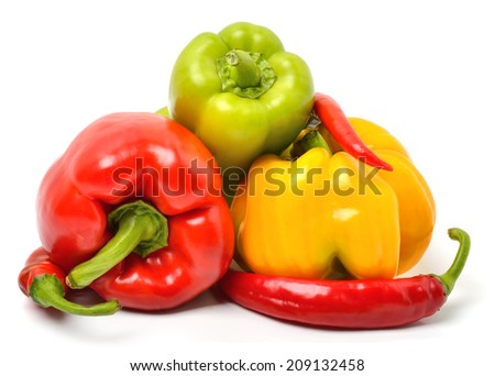 Sweet pepper, chili pepper isolated on white - stock photo