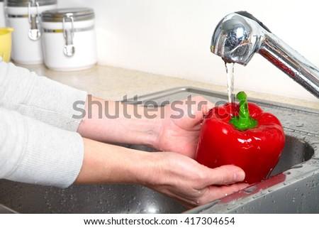 Sweet pepper in the sink. Fresh sweet pepper - stock photo