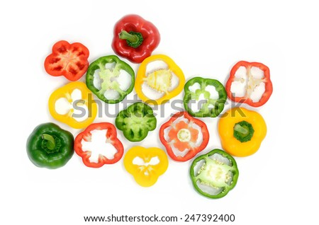 Sweet pepper slice on desk ,paprika on isolate white background - stock photo