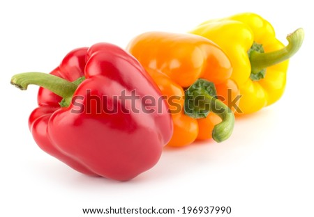 sweet peppers isolated on white background - stock photo