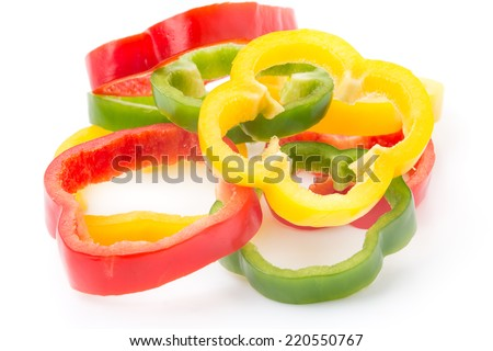 sweet peppers isolated on white background