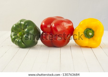 sweet peppers on kitchen table