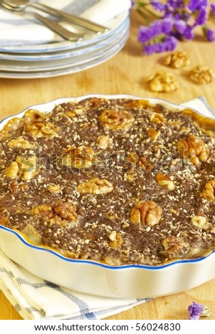 Sweet pie with condensed milk, chocolate and walnut - stock photo