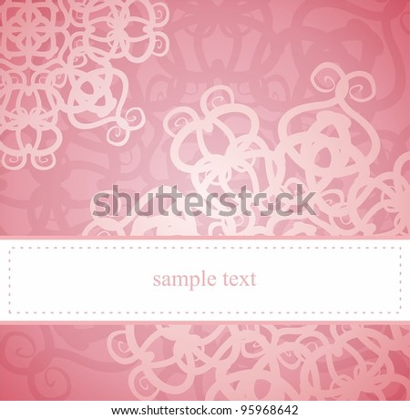Sweet, pink card or invitation for party, birthday, baby shower with white classic elegant floral lace. Cute background with white space to put your own text message. - stock photo