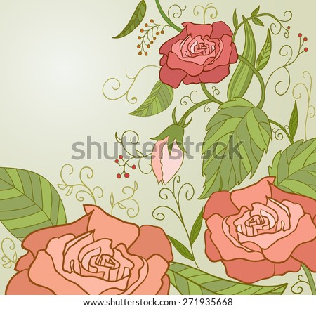Sweet Pink Roses in vintage style with green leaf hand drawn - stock photo