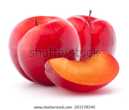 Sweet plum isolated on white background cutout - stock photo