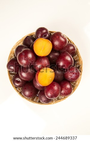 Sweet plums isolated on the white background