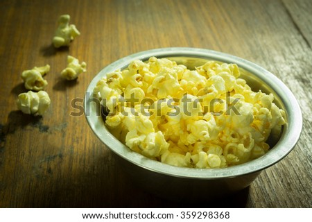 Sweet popcorn in metal bowl.