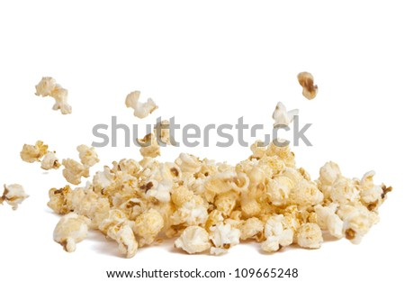 Sweet popcorn isolated on a white background - stock photo