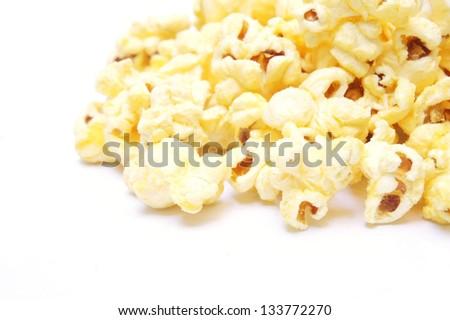 Sweet popcorn on white background - stock photo