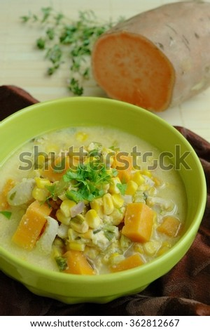 Sweet potato corn chicken soup